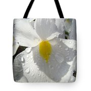 Raindrops On White Irises Flowers Sunlit Baslee Troutman Tote Bag