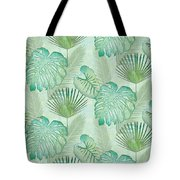 Rainforest Tropical - Elephant Ear And Fan Palm Leaves Repeat Pattern Tote Bag