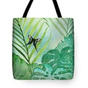 Rainforest Tropical - Philodendron Elephant Ear And Palm Leaves W Botanical Butterfly Tote Bag