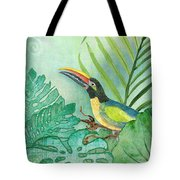 Rainforest Tropical - Tropical Toucan W Philodendron Elephant Ear And Palm Leaves Tote Bag