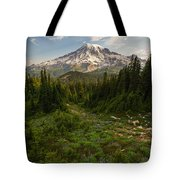 Rainier And Majestic Meadows Of Wildflowers Tote Bag