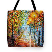 Rainy Autumn Evening In The Park Acrylic Palette Knife Painting Tote Bag