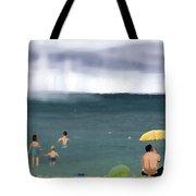 Rainy Beach Tote Bag
