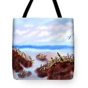 Rainy Beach Scene Tote Bag