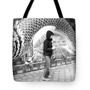 Rainy Day At The Wat Phra That Temple Tote Bag