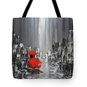 Rainy Day City Girl In Red Tote Bag