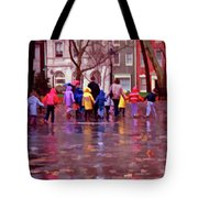 Rainy Day Rainbow - Children At Independence Square Tote Bag