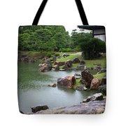 Rainy Japanese Garden Pond Tote Bag
