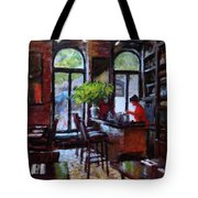 Rainy Morning In The Restaurant Tote Bag