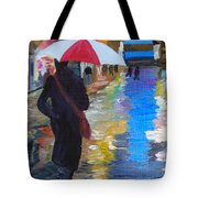 Rainy New York Tote Bag by Michael Lee