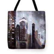 Rainy Night Downtown Tote Bag