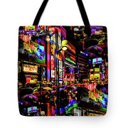 Rainy Tokyo On Acid Tote Bag