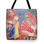 Rajasthani Ladies With Traditional Jewelry Tote Bag