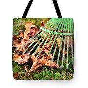 Raking The Fallen Autumn Leaves Tote Bag
