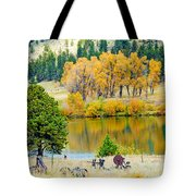 Ranch Pond In Autumn Tote Bag