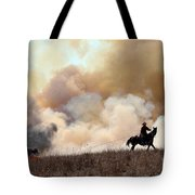Rancher Starting A Controlled Burn Tote Bag