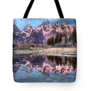 Grand Teton Snow Capped Reflections Tote Bag