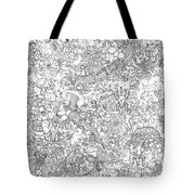 Random And Pop-culture Themed Coloring Poster Tote Bag