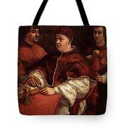Raphael Pope Leo X With Cardinals Giulio De  Medici And Luigi De  Rossi Tote Bag