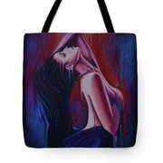 Portrait. Red And Blue Tote Bag