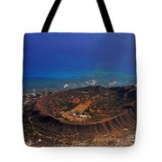 Rare Aerial View Of Extinct Volcanic Crater In Hawaii.  Tote Bag