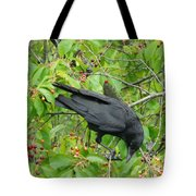 Raven In The Cherry Tree Tote Bag