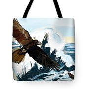 Ravens And The Stormy Sea Tote Bag