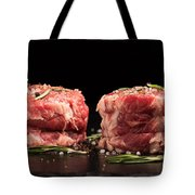 Raw Steak Meat On The Dark Surface Tote Bag