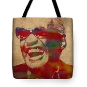 Ray Charles Watercolor Portrait On Worn Distressed Canvas Tote Bag