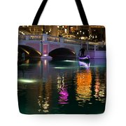 Razzle Dazzle - Colorful Neon Lights Up Canals And Gondolas At The Venetian Las Vegas Tote Bag
