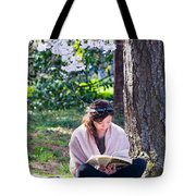 Reading Beneath The Cherry Blossoms Tote Bag