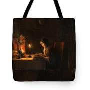 Reading By Candlelight Tote Bag