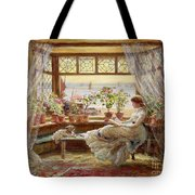 Reading By The Window Tote Bag by Charles James Lewis