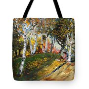 Reading In The Park  Tote Bag