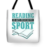 Reading Is My Favorite Sport Light Blue Tote Bag