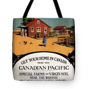 Ready Made Farms In Western Canada - Canadian Pacific - Retro Travel Poster - Vintage Poster Tote Bag
