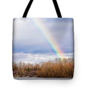 Real Rainbow Over The River Tote Bag