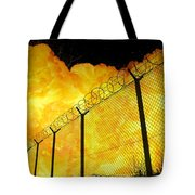 Realistic Fiery Explosion Behind Restricted Area Barbed Wire Fence Tote Bag