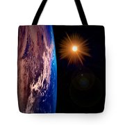 Realistic Illustration Of Earth And Sun Tote Bag