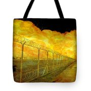 Realistic Orange Fire Explosion Behind Restricted Area Barbed Wire Fence Tote Bag