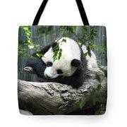 Really Cute Panda Bear Sleeping On A Log Tote Bag