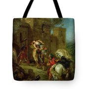 Rebecca Kidnapped By The Templar Tote Bag by Ferdinand Victor Eugene Delacroix