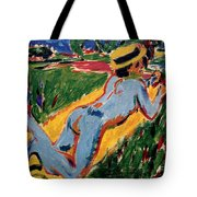 Reclining Blue Nude With Straw Hat Tote Bag