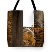 Reclining Buddha View Through A Window Tote Bag