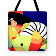 Reclining Nude In Blue And Red Tote Bag