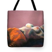 Reclining Nude With Striped Pants Tote Bag