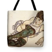 Reclining Woman With Green Stockings Tote Bag