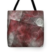 Red And Black Abstract Monoprint Tote Bag