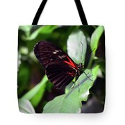 Red And Black Butterfly In The Garden Tote Bag