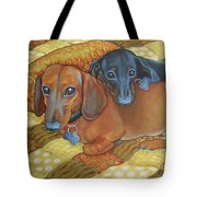 Red And Black Dachshunds - Best Buds Tote Bag